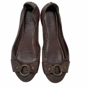 Frye Carson Buckle Brown Leather Ballet Flats 7